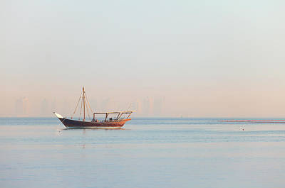 Lone Dhow In Qatar Poster by Paul Cowan