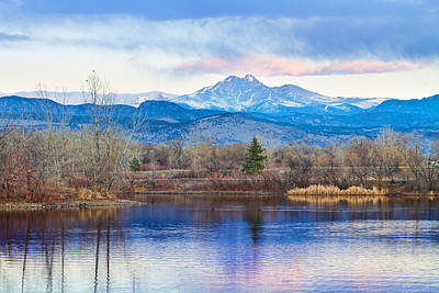 Longs Peak And Mt Meeker Sunrise At Golden Ponds Poster by James BO  Insogna