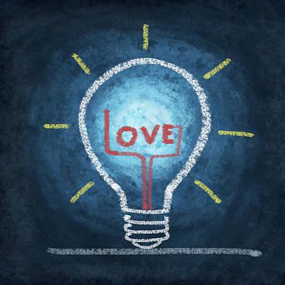 Love Word In Light Bulb Poster by Setsiri Silapasuwanchai