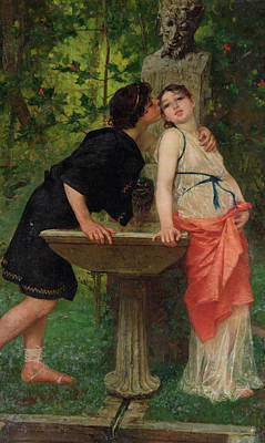 Lovers By A Fountain Poster by Modesto Faustini