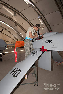 Maintence Crews Work On An Mq-1 Poster by HIGH-G Productions