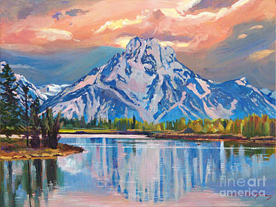 Majestic Blue Mountain Reflections Poster by David Lloyd Glover