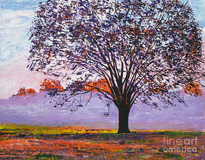 Majestic Tree In Morning Mist Poster by David Lloyd Glover