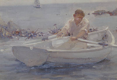 Man In A Rowing Boat Poster by Henry Scott Tuke