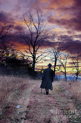 Man In Top Hat With Cane Walking Poster by Jill Battaglia