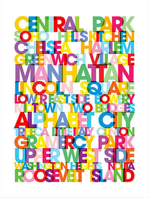 Manhattan Boroughs Bus Blind Poster by Michael Tompsett