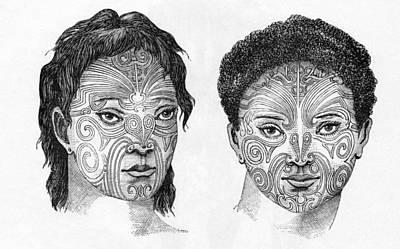 Maori Head Tattoos, Artwork Poster by Sheila Terry