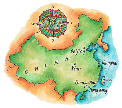 Map Of China Poster by Jennifer Thermes