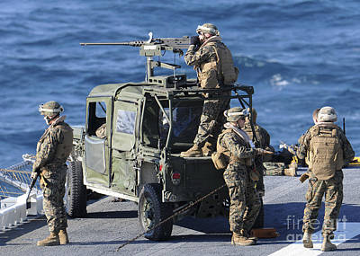Marines Provide Security Aboard Poster by Stocktrek Images