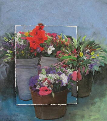 Market Flowers In Pails Layered Poster by Anita Burgermeister