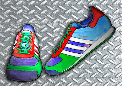 Metal Grate Sport Shoe Poster by Elaine Plesser