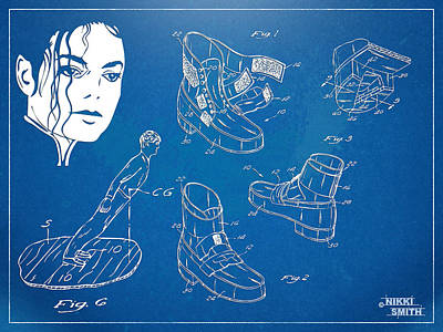 Michael Jackson Anti-gravity Shoe Patent Artwork Poster by Nikki Marie Smith