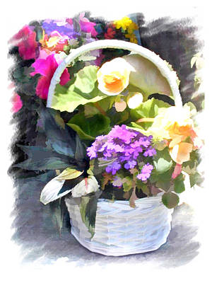 Mixed Flowers In A White Basket Poster by Elaine Plesser