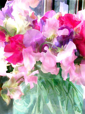 Mixed Sweet Peas In A Jar Poster by Elaine Plesser