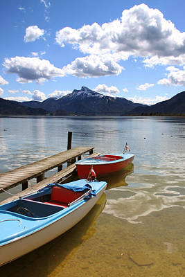 Mondsee Lake Boats Poster by Lauri Novak
