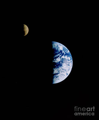 Moon And Earth Poster by NASA / Science Source