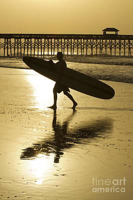 Morning Session Longboard Surfing Folly Beach Sc  Poster by Dustin K Ryan