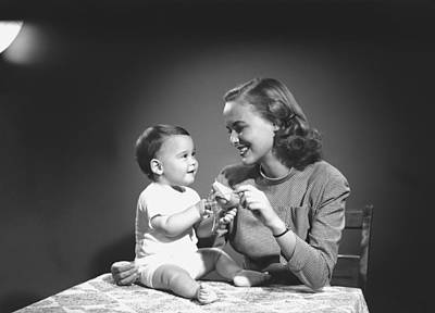 Mother With Baby (6-9 Months) Playing At Home, (b&w) Poster by George Marks