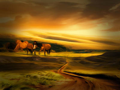 Mountain Horses Poster by Lourry Legarde