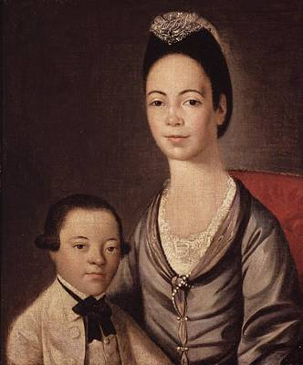 Mrs. Aaron Lopez And Her Son Joshua Poster by  Gilbert Stuart