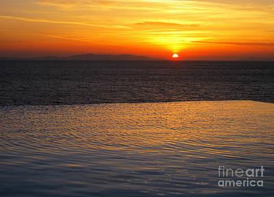 Mykonos Sunset Poster by Leslie Leda