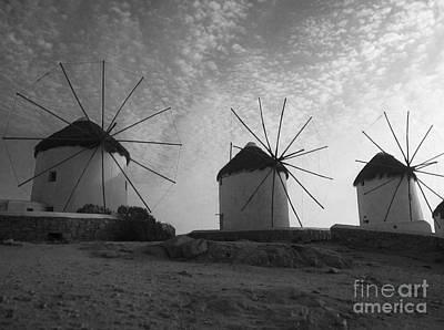 Mykonos Windmills Poster by Leslie Leda