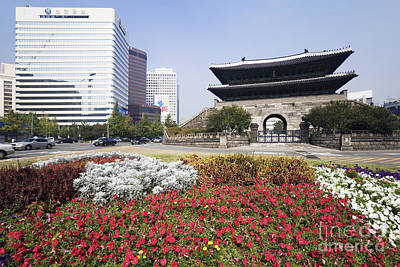 Namdaemun Gate With Flowers In Foreground Poster by Jeremy Woodhouse