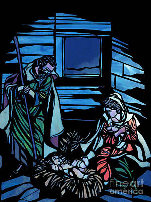Nativity Stained Glass Poster by Methune Hively