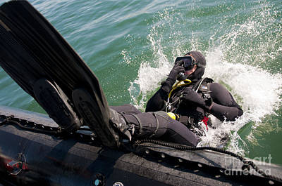 Navy Diver Dives Into San Diego Bay Poster by Stocktrek Images
