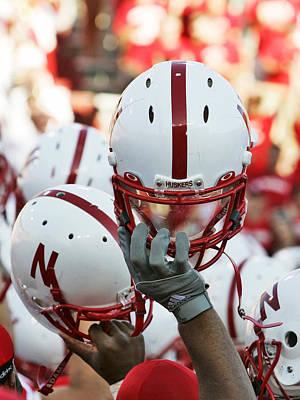 Nebraska Football Helmets  Poster by University of Nebraska