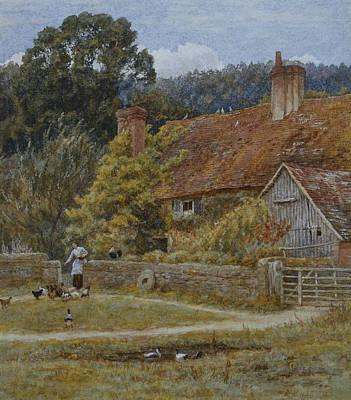 Netley Farm Shere Surrey Poster by Helen Allingham