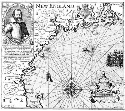 New England Map, 1616 Poster by Granger