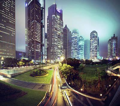 Night Fog Over Shanghai Cityscape Poster by Blackstation