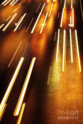 Night Traffic Poster by Carlos Caetano