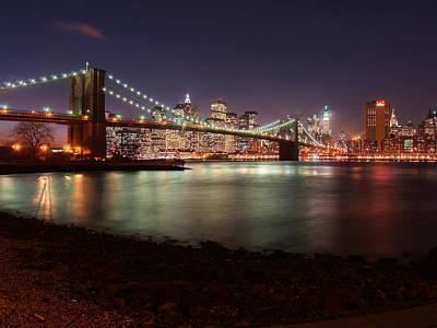 Nyc Brooklyn Nights Poster by Nina Papiorek