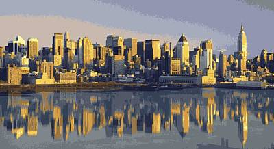 Nyc Reflection Color 16 Poster by Scott Kelley