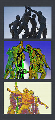 Oil Riggers Triptych Poster by Steve Ohlsen