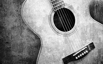 Old Guitar Black And White Poster by Nattapon Wongwean