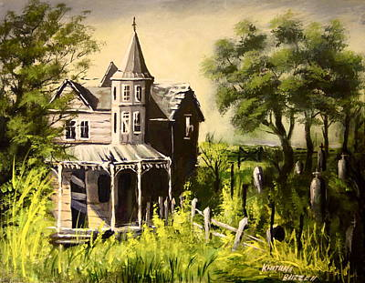 Old House With  Cemetery Poster by Khatuna Buzzell