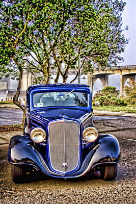 Old Roadster - Blue Poster by Carol Leigh