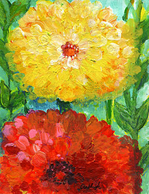 One Yellow One Red And Orange Flower Shines Poster by Ashleigh Dyan Bayer