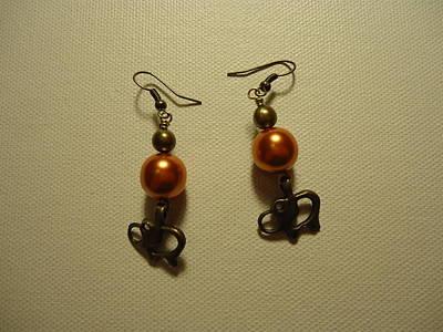Orange Gold Elephant Earrings Poster by Jenna Green