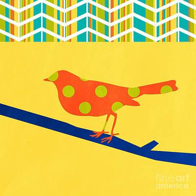Orange Polka Dot Bird Poster by Linda Woods