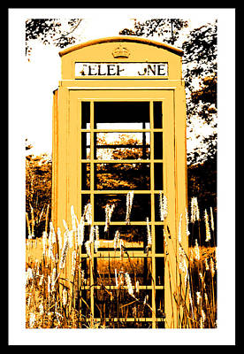 Orange Telephone Booth In The Field Poster by Kara Ray