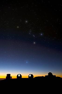 Orion And Observatories, Hawaii Poster by David Nunuk