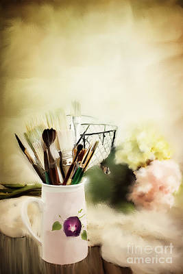 Paint Brushes And Flowers Poster by Stephanie Frey