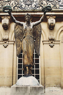 Paris Courtyard Musee Carnavalet Angel Statue - Victory Allegorical Angel Statue Poster by Kathy Fornal