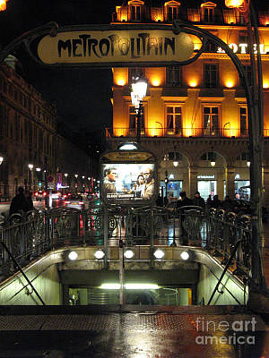 Paris Metro Station Night Scene  Poster by Kathy Fornal