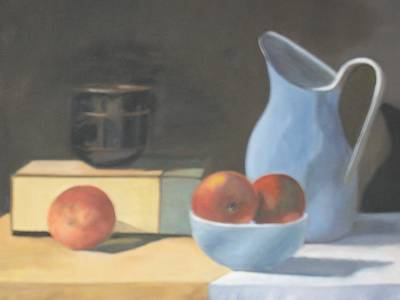 Peaches And Stoneware Poster by Linda Loen
