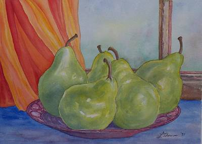 Pears At The Window Poster by Laurel Thomson